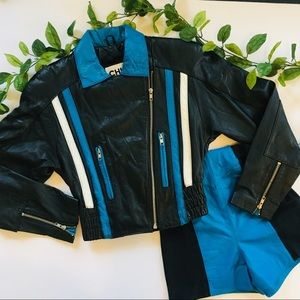 Vintage Xs Leather Jacket & Hot short set
